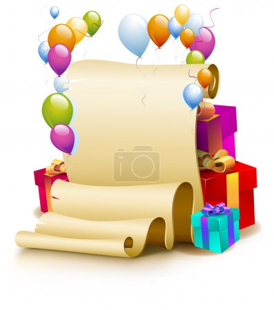 Illustration for Festive greetings. Congratulations on the birthday. Balloons. Parchment. Holiday gifts. - Royalty Free Image