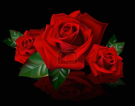 Illustration for A bouquet of red roses. Reflection picture bouquet of red roses. The buds of roses. - Royalty Free Image