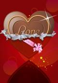 Chocolate heart in wrapper