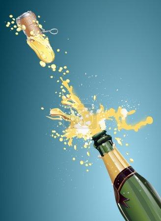 Illustration pour Tourné une bouteille de champagne, art vectoriel illustration vacances . - image libre de droit