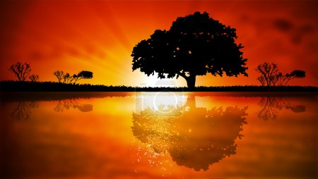 Illustration for Island with trees at sunset, vector art illustration. - Royalty Free Image