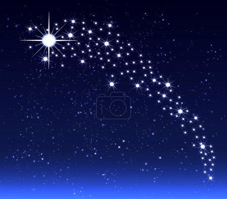 Illustration pour Etoile de Noël dans le ciel nocturne, illustration d'art vectoriel . - image libre de droit