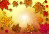 Yellow maple leaf on autumn background vector art illustration