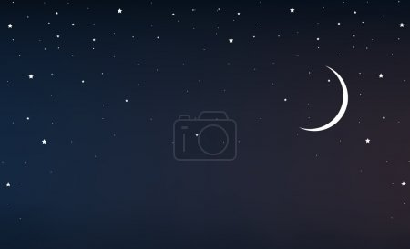 Illustration for Night sky with a crescent moon and stars, vector art illustration. - Royalty Free Image