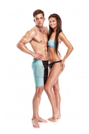 Woman and man swimmer with goggles