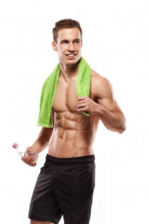 Strong Athletic Man Fitness Model Torso showing six pack abs. ho