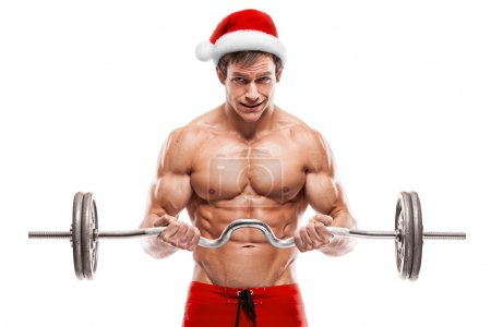 Muscular Santa Claus with gifts