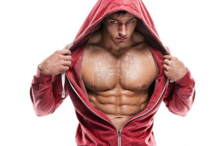 Athletic Man Fitness Model Torso showing six pack abs
