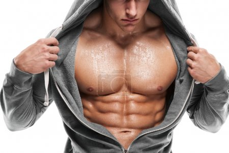 Photo for Strong Athletic Man Fitness Model Torso showing six pack abs. - Royalty Free Image
