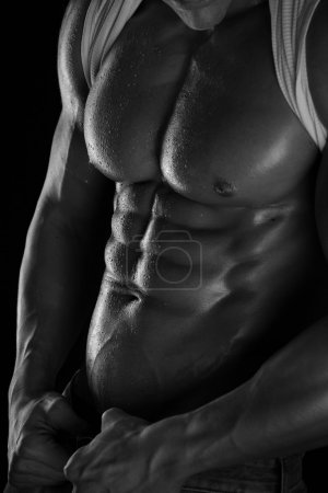 Athletic Man Fitness Model Torso showing six pack abs.