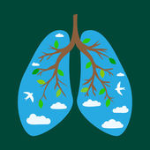 World Tuberculosis Day World Pneumonia Day Human lungs Medical flat illustration Health care Tree branches like the lungs Branches with leaves Sky with clouds and birds