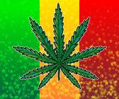 Ganja leaf on rasta colored flag