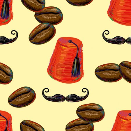 Illustration for Turkish seamless pattern with fez, mustache and coffee beans . Tiled background with oriental ornament. Turkish coffee. Vector illustration - Royalty Free Image