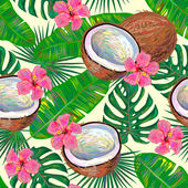 Seamless tropical pattern with coconuts and pink flowers against light background