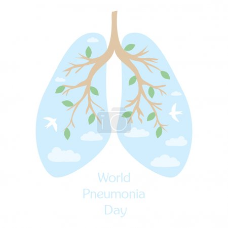 Illustration pour Journée mondiale de la pneumonie. Poumons humains. Illustration plate médicale - image libre de droit