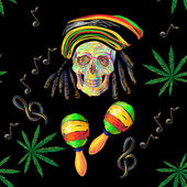 Seamless music Rastafarian pattern with cannabis skull and maracas treble clef note vector background