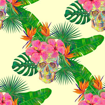 pattern with  flowers and skulls