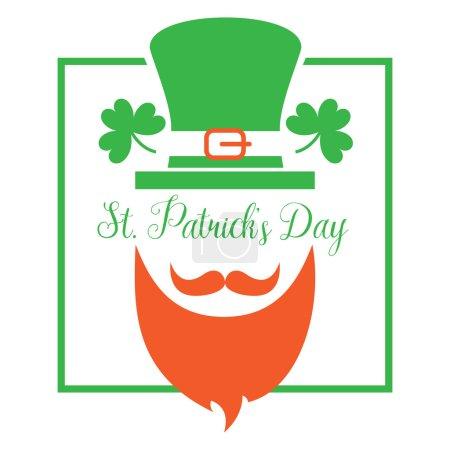 Illustration pour Lutin de la Saint-Patrick avec un chapeau vert symbolique et une barbe rouge touffue et un fond vectoriel de trèfle vert. Fête irlandaise - image libre de droit