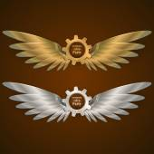 Set banners with gears in the form of metal wings retro steampunk party