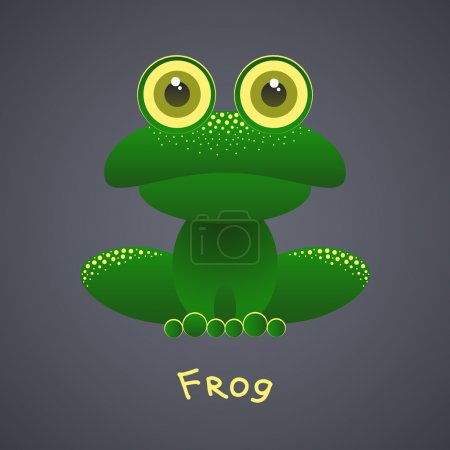 Illustration for Funny green frog on a gray background - Royalty Free Image