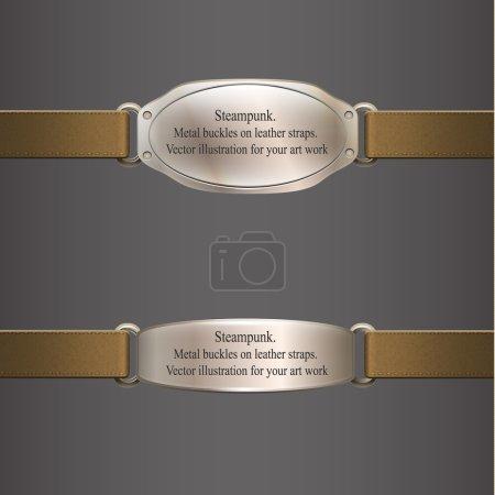 Illustration pour Bannière en métal sur sangles en cuir marron. Steampunk. illustration vectorielle - image libre de droit