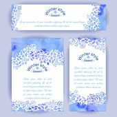 Set of vertical and horizontal banners Hand-painted blue watercolor colorful leaves and spirals motif Vector design for cards invitation and other