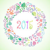 Number of year 2015 in round hand-painted watercolor floral frame