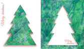 Set of two decorative elements shape of stylized Christmas fir tree on textured green hand-painted strokes on paper