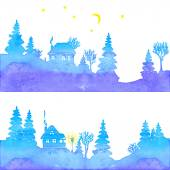 Hand-painted set of two watercolor landscapes with blue silhouettes of fir trees houses moon stars and lantern Vector illustration on white background
