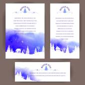 Set of vertical and horizontal banners. White silhouettes of fir trees and houses on blue watercolor background. Vector design for cards, invitation and other .