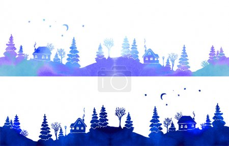 Hand-painted set of two watercolor borders with blue country landscape: silhouettes of fir trees, houses, moon, stars and lantern. Each one is seamless. Vector illustration on white background.