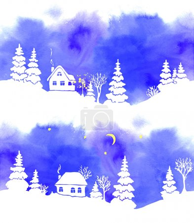 A set of two hand-painted blue watercolor landscapes with white silhouettes of fir trees, houses, moon, stars and lantern. Border is seamless, if both joined together. Vector illustration.