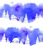 A set of two hand-painted blue watercolor landscapes with white silhouettes of fir trees houses moon stars and lantern Border is seamless if both joined together Vector illustration