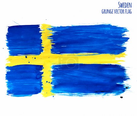 Painted grunge Sweden flag, brush strokes on white background. Vector illustration