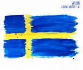 Painted grunge Sweden flag brush strokes on white background Vector illustration