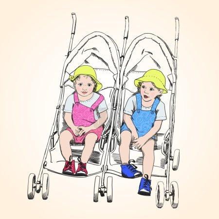 Jumeaux, assis dans une poussette