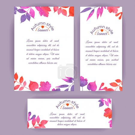 Illustration for Set of vertical and horizontal banners. Watercolor colorful leaves. Vector cards design - Royalty Free Image