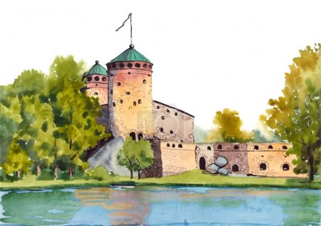 Illustration for Watercolor painting of Olavinlinna fortress (Medieval castle) in Savonlinna center, Finland. Vector illustration. - Royalty Free Image