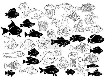 Illustration pour Ensemble de poissons exotiques dessinés à la main, méduses, étoiles de mer et algues - image libre de droit