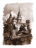 Fekete-fehér vintage illusztráció-Bojnice kastély