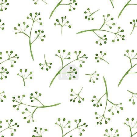 Ilustración de Patrón transparente de vector con elementos florales acuarelas. Mano dibujada ornamento con ramitas verdes. Perfecto para saludos, invitaciones, fabricación de papel de regalo, textil, diseño web. - Imagen libre de derechos