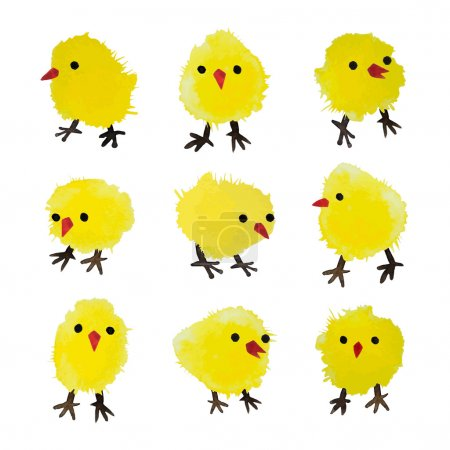 Set of vector watercolor chickens isolated on white background