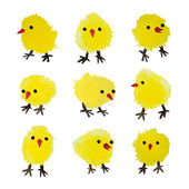 Set of vector watercolor chickens isolated on white background Happy Easter day vector clip art for your design