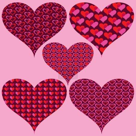 Photo pour Ensemble de coeurs de Saint-Valentin décorés avec motifs. illustration vectorielle - image libre de droit