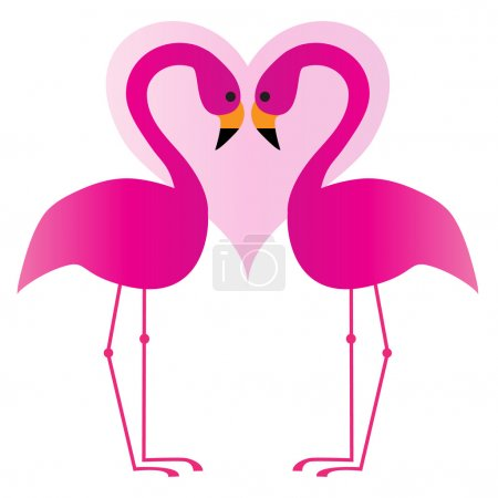 two pink flamingos with heart