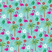 pattern with flamingos and palm trees