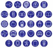 Blue white icons set Vector illustration