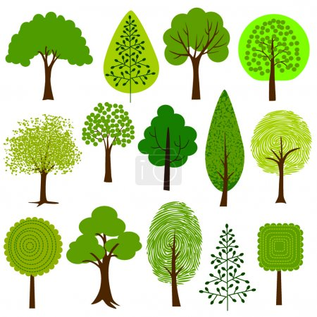 Illustration for Cartoon Trees clip art on white background - Royalty Free Image