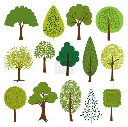 Illustration for Different Trees clip art. Set on white background - Royalty Free Image