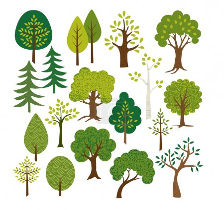 Illustration for Different vector Trees clip art - Royalty Free Image